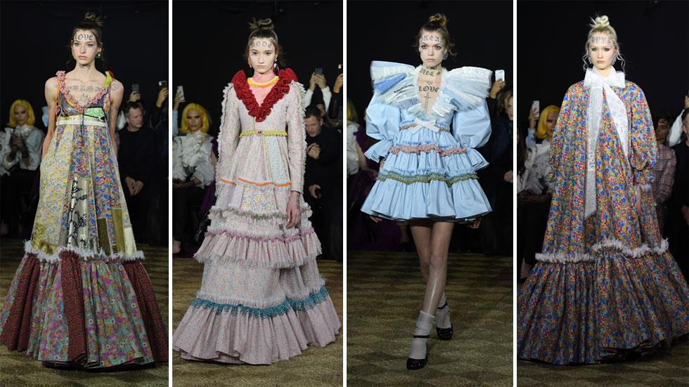 """צמד המעצבים ויקטור & רולף אוהבים לייצר הצהרות בולטות על המסלול. הפעם הם שילבו שמלות כפריות רומנטיות העשויות טלאים משאריות בדים שאספו כחלק מאג'נדה של מיחזור, עם קעקועי דיו שקישטו את פני הדוגמניות ובהם כיתובים כמו """"אהבה"""" ו""""חלום""""  (צילום: Pascal Le Segretain/GettyimagesIL)"""
