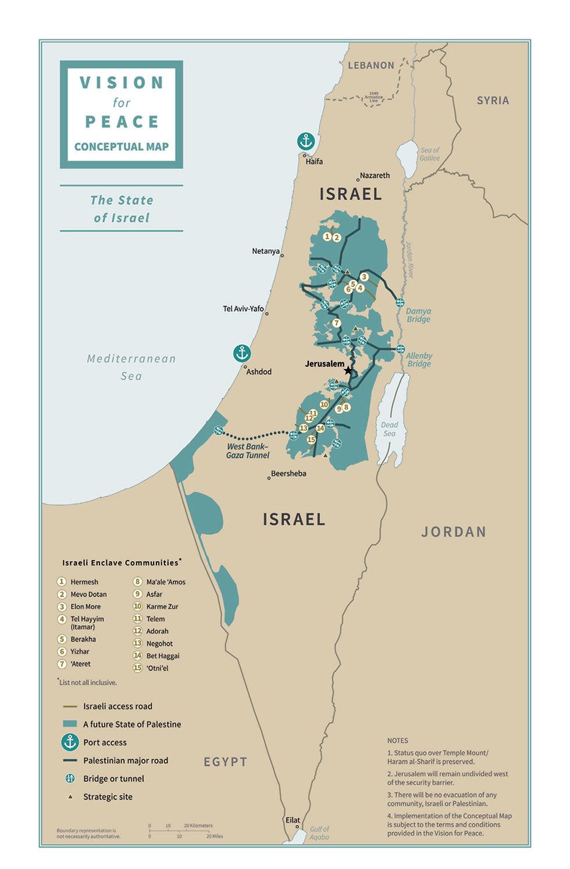 Карта Израиля и будущего палестинского государства