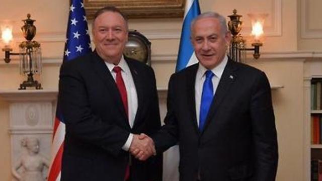 ראש הממשלה בנימין נתניהו נפגש אמש עם מזכיר המדינה האמריקני מייק פומפאו, בוושינגטון (צילום: קובי גדעון, לע