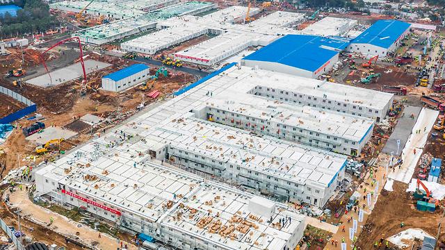 סין בית החולים הואושנשאן ב ווהאן נבנה ב 10 ימים הושלם ב 2 פברואר (צילום: AFP)