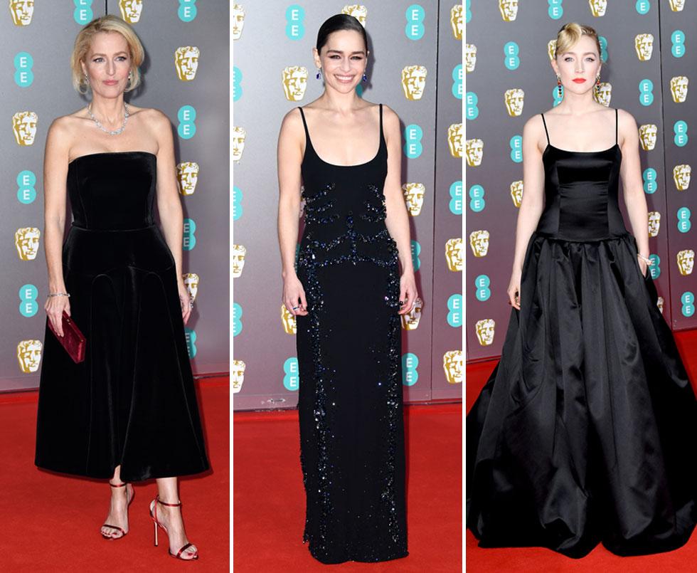 הנשים בשחור. סירשה רונן, אמיליה קלארק וג'יליאן אנדרסון (צילום: Gareth Cattermole/GettyimagesIL)