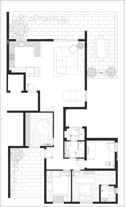 תוכנית הדירה, המחולקת לאזור ציבורי ואזור פרטי, עם שתי מרפסות. לא נעשו שינויים בחלוקת הפנים (תוכנית: סטודיו doma – יעל דוקטורציק סגלי ובלית מזור)