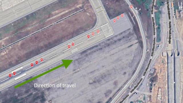 מסלול הנחיתה של המטוס שהתרסק באיסטנבול ()
