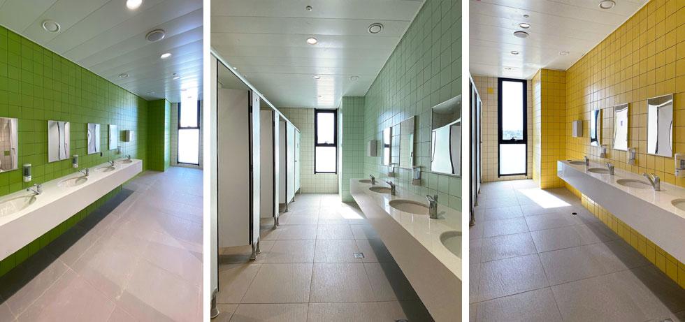 שלושה מששת חדרי השירותים. לכל אחד צבע אחר (צילום: ערן זילברמן)