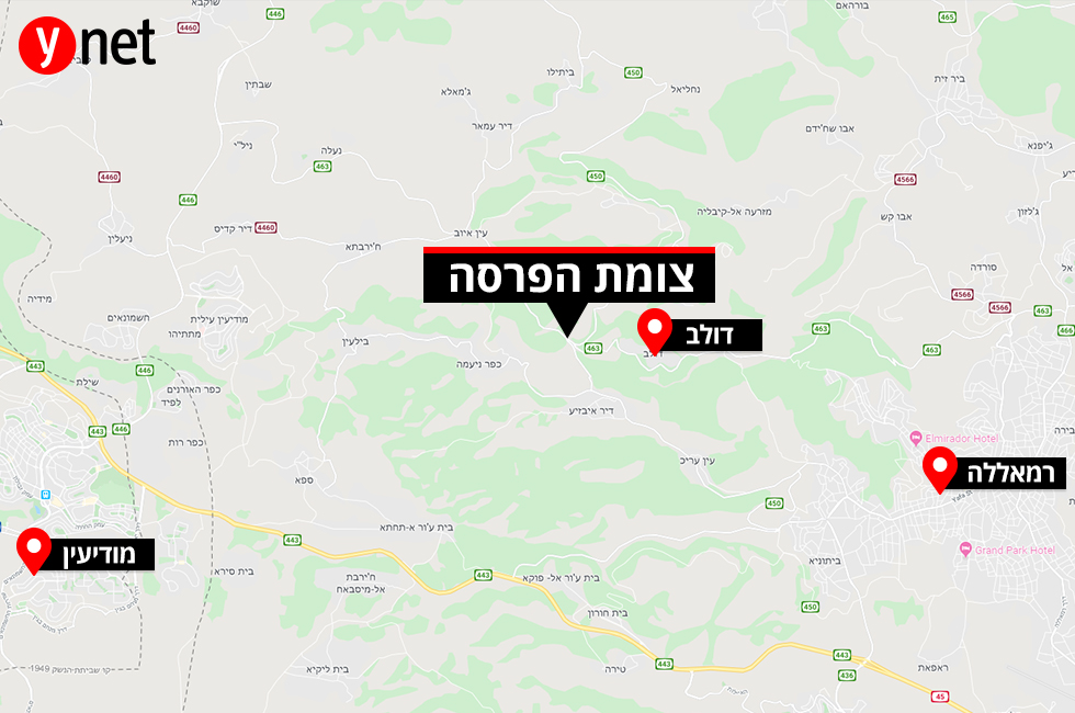 מפה פיגוע ירי רכב חולף צומת הפרסה דולב ()