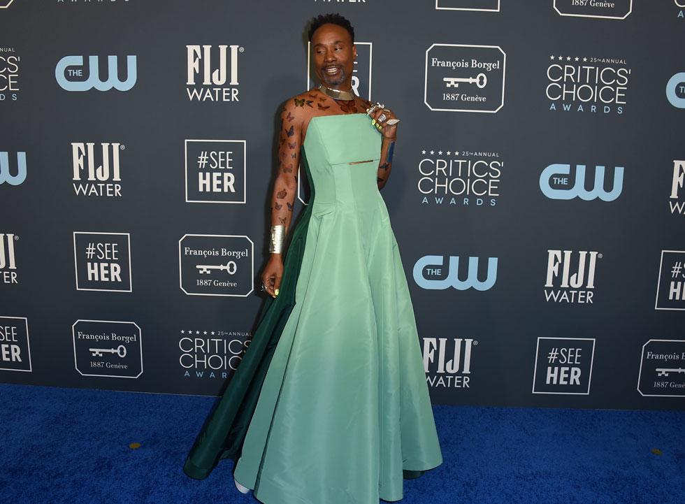 ואיך אפשר בלי בילי פורטר, בשמלה ירוקה בעיצוב הוגן מקלפלין  (צילום: AP)