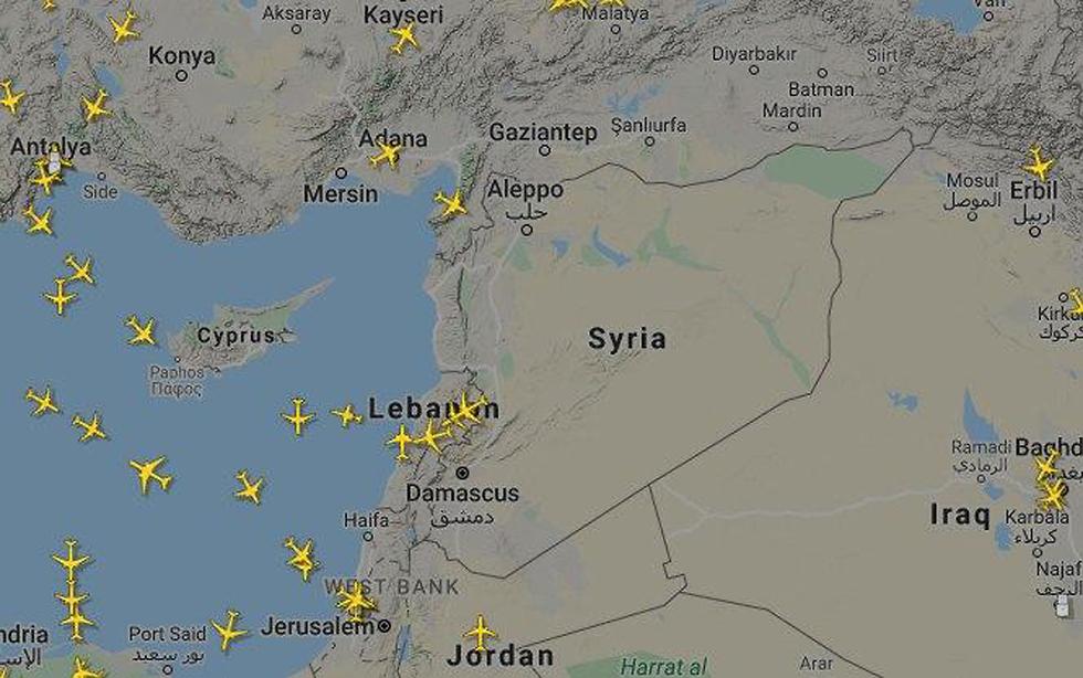 השטח האווירי מעל סוריה אחרי התקיפה ()