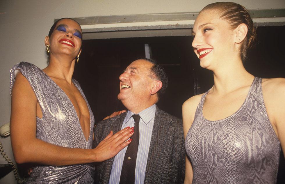 """ברקו בתצוגה של גוטקס בשנת 1987, עם תמי בן עמי וח""""כ מנחם סבידור (צילום: מיכאל קרמר)"""