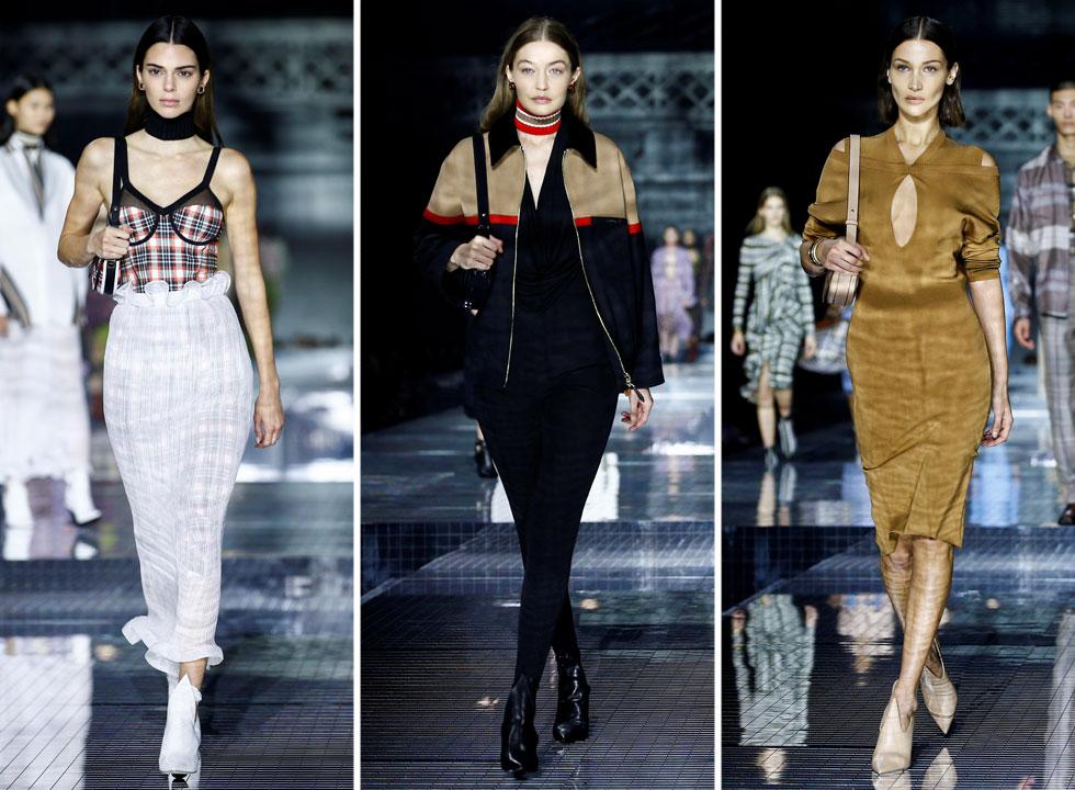 הטופ מודלס הגדולות נפקדות לרוב משבוע האופנה הלונדוני, למעט מתצוגת האופנה של ברברי שהתקיימה רגע לפני שהמשיכו למילאנו. נצפו על המסלול: אירינה שייק, האחיות ג'יג'י ובלה חדיד, וקנדל ג'נר באנסמבל לא ברור של שמלת משבצות סקסית ומעליה שכבת בד משי לבנה מעוטרת סלסולים  (צילום: Reuters)