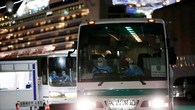 הישראלים מספינת הקורונה בדרכם לטיסה לישראל (צילום: AP)