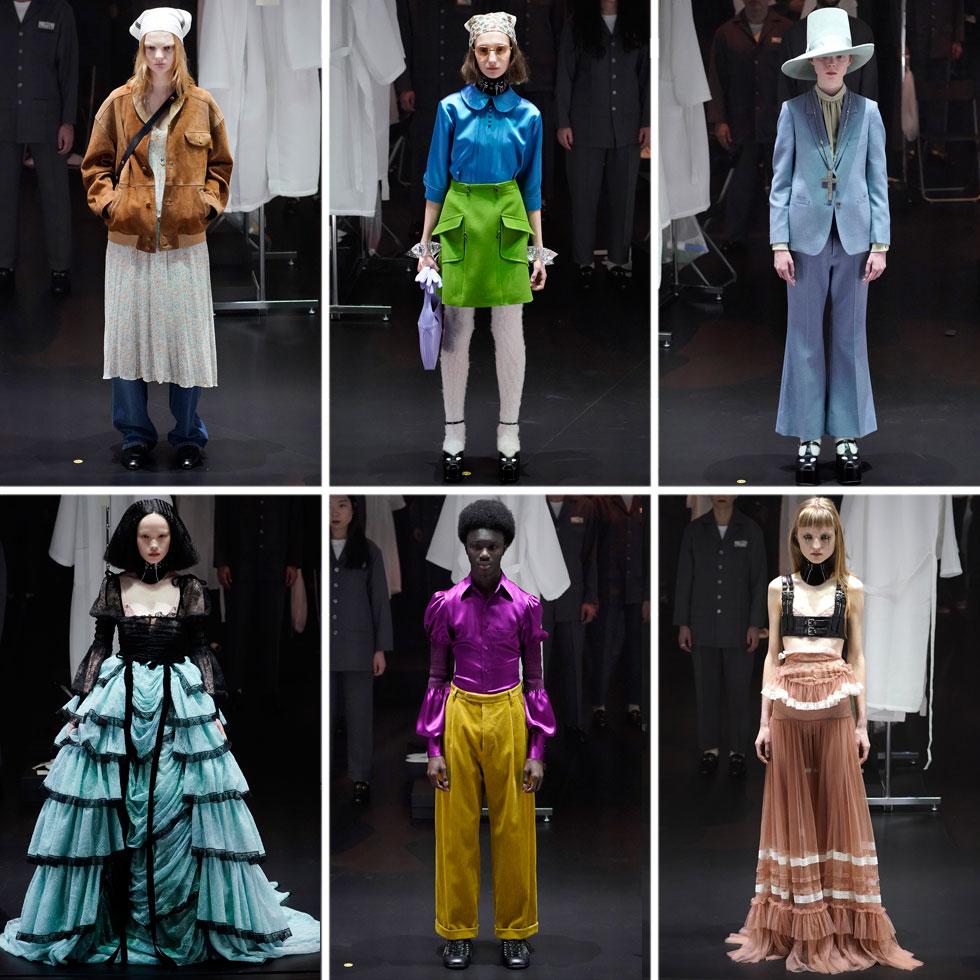"""בגוצ'י יצרו השנה קרקס אופנה, כשעל קרוסלה מסתובבת עלו 60 דוגמנים ודוגמניות לבושים בעיצוביו הסמי-תקופתיים של אלסנדרו מיקלה, כשמאחוריהם ניצבו צוותי האיפור וההלבשה אשר """"חשפו"""" את תהליך ההכנה של כל דגם. בכך ביקשו במותג להעלות לדיון לא רק את הבגד הסופי, אלא גם את תהליך ההפקה שלו (צילום: Pietro S. D'Aprano/GettyimagesIL)"""