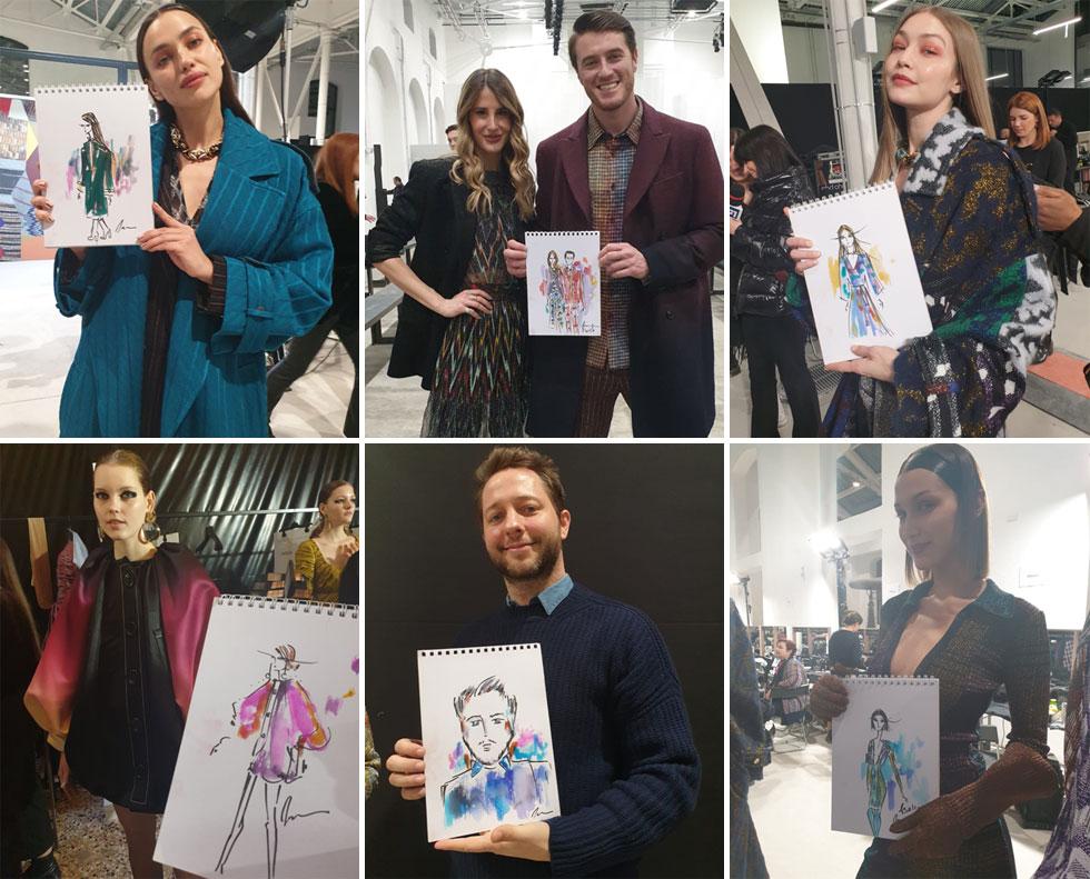 מאיירת האופנה טליה צורף מ-Xnet ביקרה במהלך השבוע האחרון כאורחת מותג האיפור M.A.C מאחורי הקלעים בתצוגות האופנה של מיסוני, MSGM, אנטוניו מאראס ופילוסופי, שם בין היתר פגשה ואיירה את הטופ מודלס אירינה שייק, האחיות בלה וג'יג'י חדיד ועורך האופנה דרק בלסברג  (איור: טליה צורף)