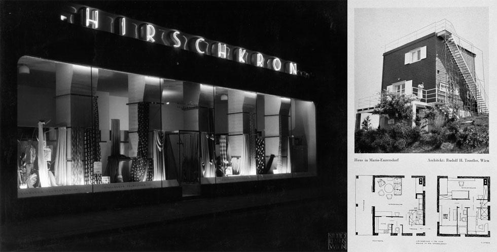 מימין: בית הקיץ שתכנן להוריו בדרום אוסטריה (הבית היחיד שתכנן במולדתו); חנות הבדים ''הירשקורן'' בווינה, 1937. האנטישמיות שהופגנה כלפיו הראתה לו את הדרך לארץ ישראל (צילום: מעזבונו של האדריכל ראובן רודולף טרוסטלר, צילום: סטודיו קראוס וינה)