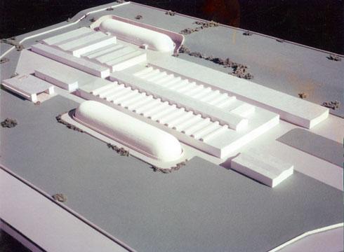 מודל מפעל ''סיבי דימונה'', 1960 (צילום: מעזבונו של האדריכל ראובן רודולף טרוסטלר)