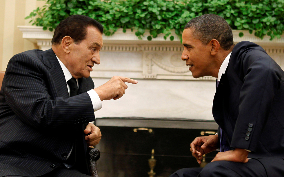 נשיא מצרים לשעבר חוסני מובארק  עם ברק אובמה ב-2010 (צילום: רויטרס)