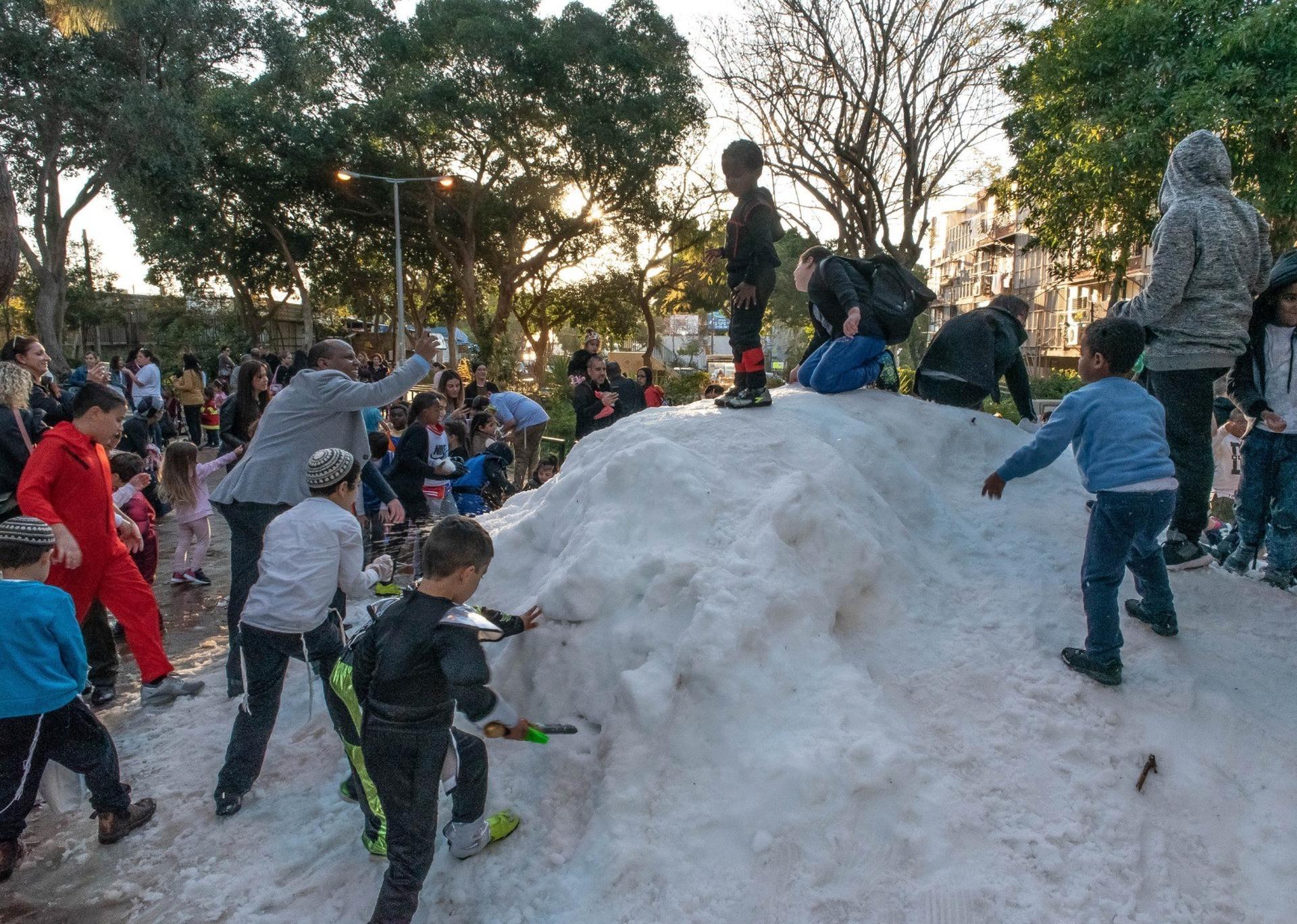 Снег в Ришон ле-Ционе. Фото: пресс-служба мэрии Ришон ле-Циона (архив)