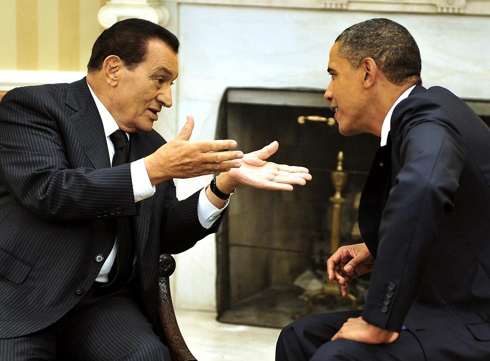 מצרים חוסני מובארק עם ברק אובמה הבית הלבן 2010 (צילום: MCT)