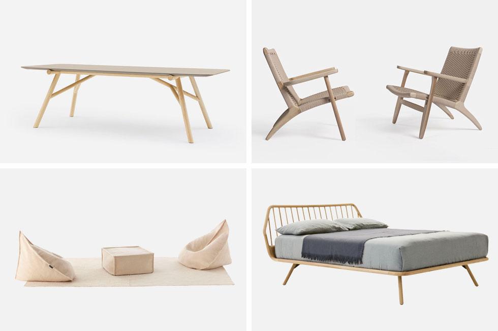 הרהיטים נמוכים יחסית, הצבעוניות נייטראלית, החומרים טבעיים ככל האפשר. למעלה מימין: כסאות-כורסאות של simply wood; למעלה משמאל: שולחן אוכל של ''רוזטו''; למטה מימין מיטה של ''רוזטו''; ולמטה משמאל פופים של ''הביטאט''