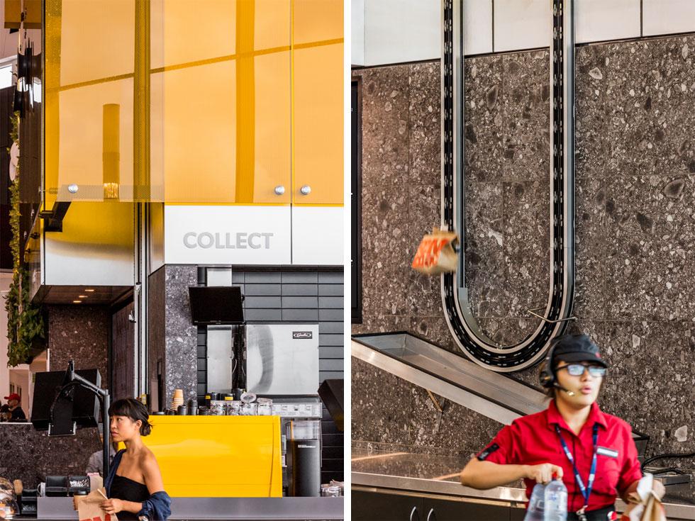 גם המסוע שמוריד את שקיות המזון מטה שקוף לעיני הלקוחות. תנאי המקום אילצו את האדריכלים למקם את המטבח מעל הדלפקים, והם הפכו את האתגר להזדמנות (צילום: Trevor Mein)