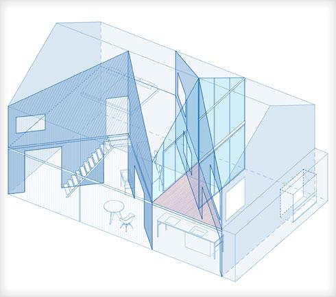 בית שהוא יצירת אוריגמי (תוכנית: shinkenchiku_sha, Yosuke Ohtake and Yohei Sasakura)