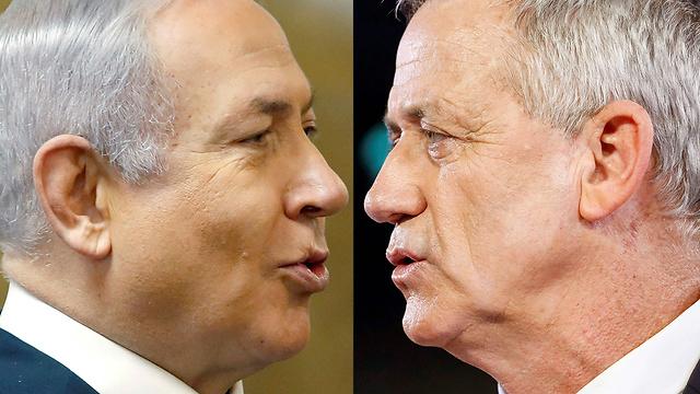 בני גנץ בנימין נתניהו (צילום: AFP)