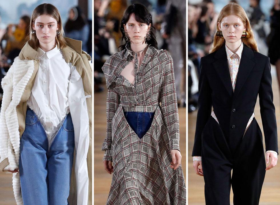 על הקולקציה הטובה בפריז חתום המעצב גלן מרטנס מהמותג Y/Project וחיתוך ה-V שיצר במכנסיים, חצאיות ושמלות. הגזרה המטרידה כבר הופיעה בתצוגת הגברים בינואר, ואנחנו מהמרים שהיא תתפוס תאוצה מסחרית בדומה לגזרת המכנסיים הנמוכים של אלכסנדר מקווין מתחילת שנות ה-90 (צילום: AFP)