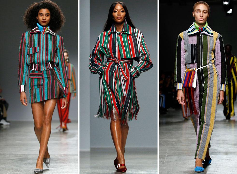 שבוע האופנה נפתח בתצוגת ביכורים של המעצב הניגרי הצעיר קנת' איזה, אחד מחמישה מעצבים אפריקאים שכבשו את פריז, עם מערכות לבוש לנשים ולגברים ששילבו בין גזרות מערביות לבדים מאפריקה. את התצוגה פתחה דוגמנית העל נעמי קמפבל, שמקדמת אופנה אפריקאית וסייעה ליחסי הציבור של המעצב (צילום: Thierry Chesnot/GettyimagesIL)