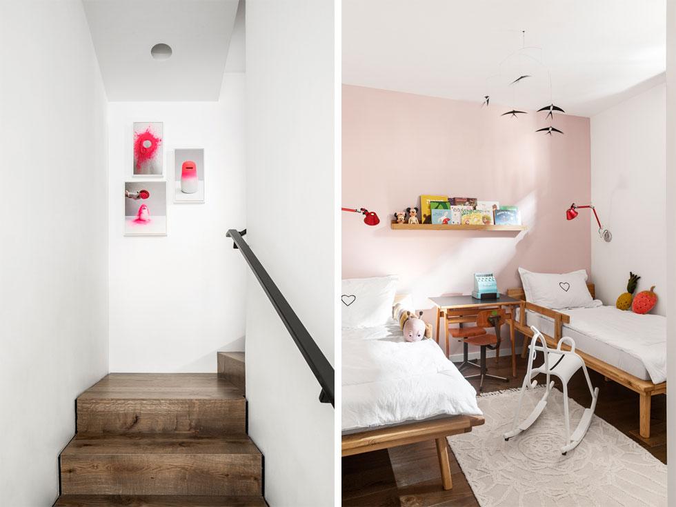 משמאל: מדרגות מכוסות עץ אגוז עולות לקומת הגלריה (על הקיר עבודות של רחלי שרפשטיין). מימין: התאומות חולקות חדר קומפקטי, המרוהט בעץ (צילום: איתי בנית)