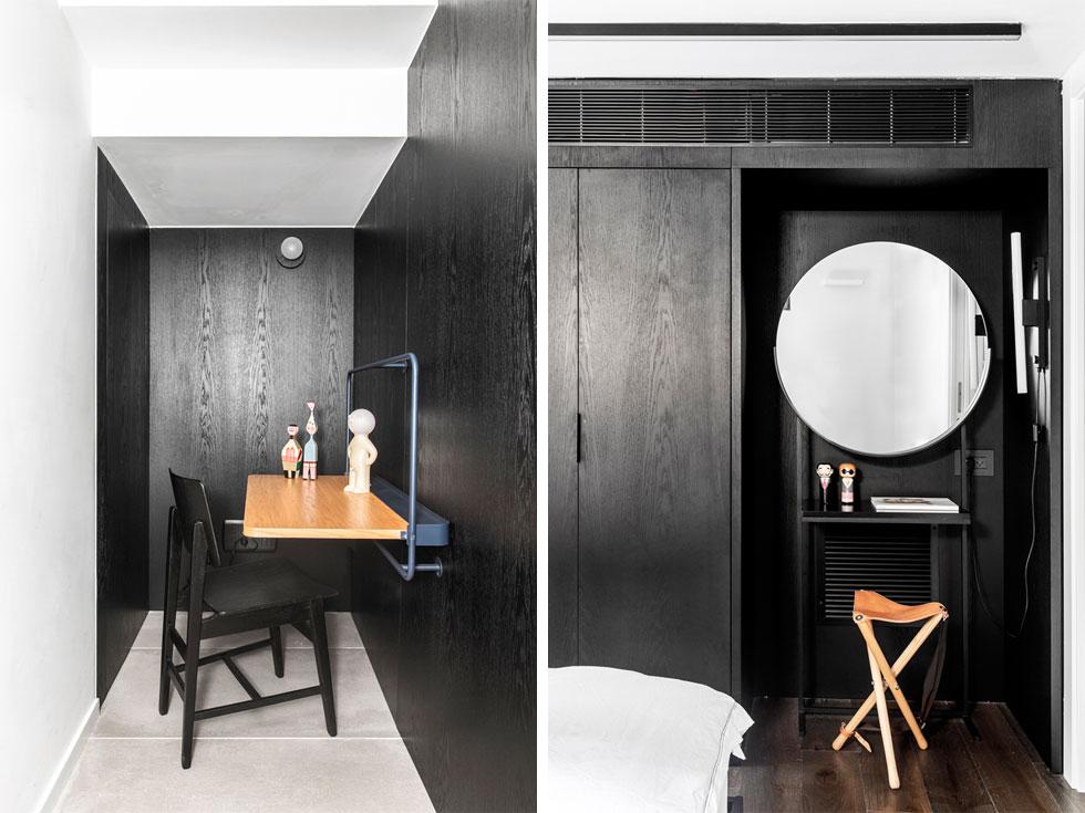 נישות שחורות וקומפקטיות מגדירות פינת איפור בחדר השינה (בתמונה מימין) ופינת עבודה (משמאל), בחלל שמתחת למדרגות (צילום: איתי בנית)