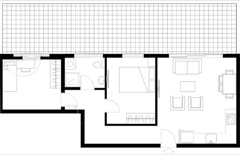 התוכנית המקורית. סלון עם מטבח, חדר שינה וממ''ד (תוכנית: עיני שובל אדריכלים)