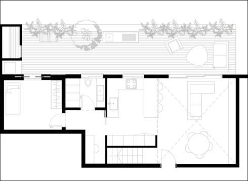 ובזכות קומת הגלריה: למטה סלון עם מטבח גדול יותר, מדרגות, ממ''ד, חדר רחצה ופינת עבודה (תוכנית: עיני שובל אדריכלים)