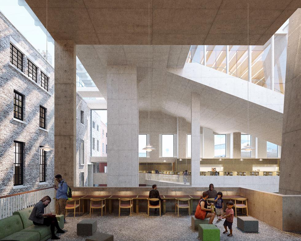 הספרייה העירונית של דבלין. אור טבעי פורץ אל מרחבי למידה שקטים (Rendering courtesy of Grafton Architects)