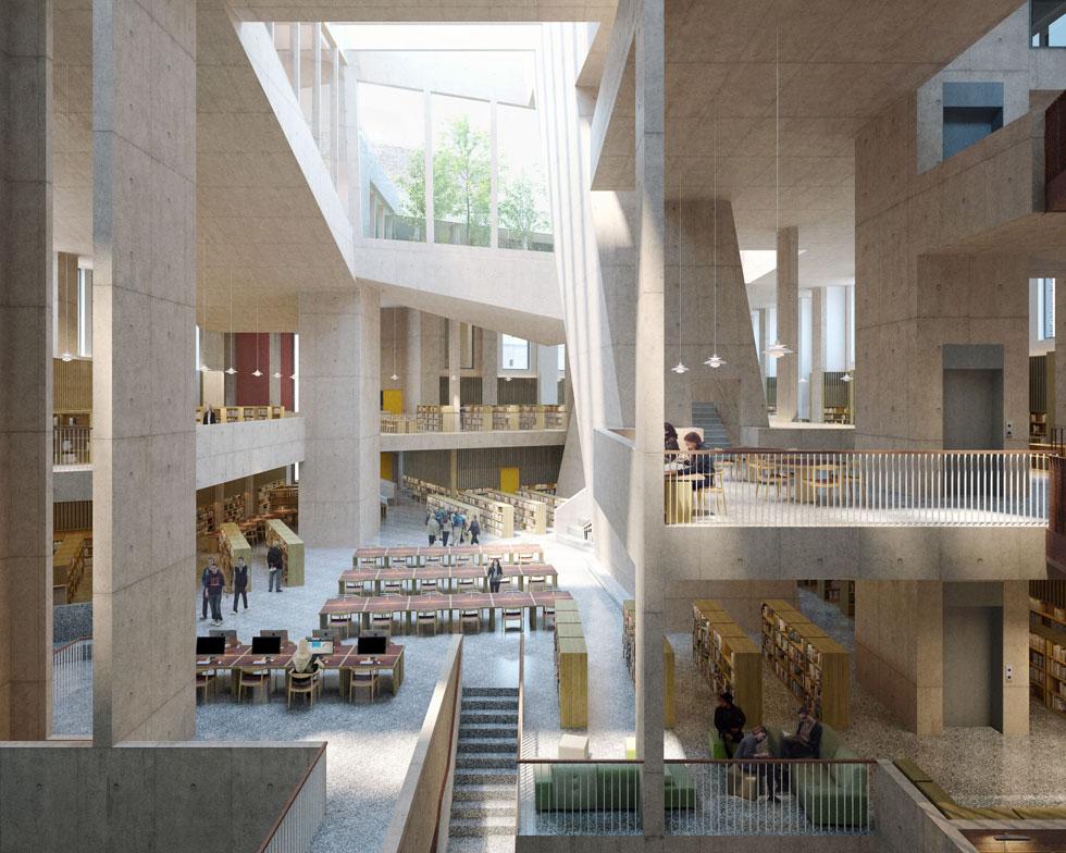 הספרייה העירונית של דבלין, בסיס-האם של המשרד. בניינים חכמים ומורכבים, אך לא נוצצים, שמותאמים למידות משתמשיהם (Rendering courtesy of Grafton Architects)