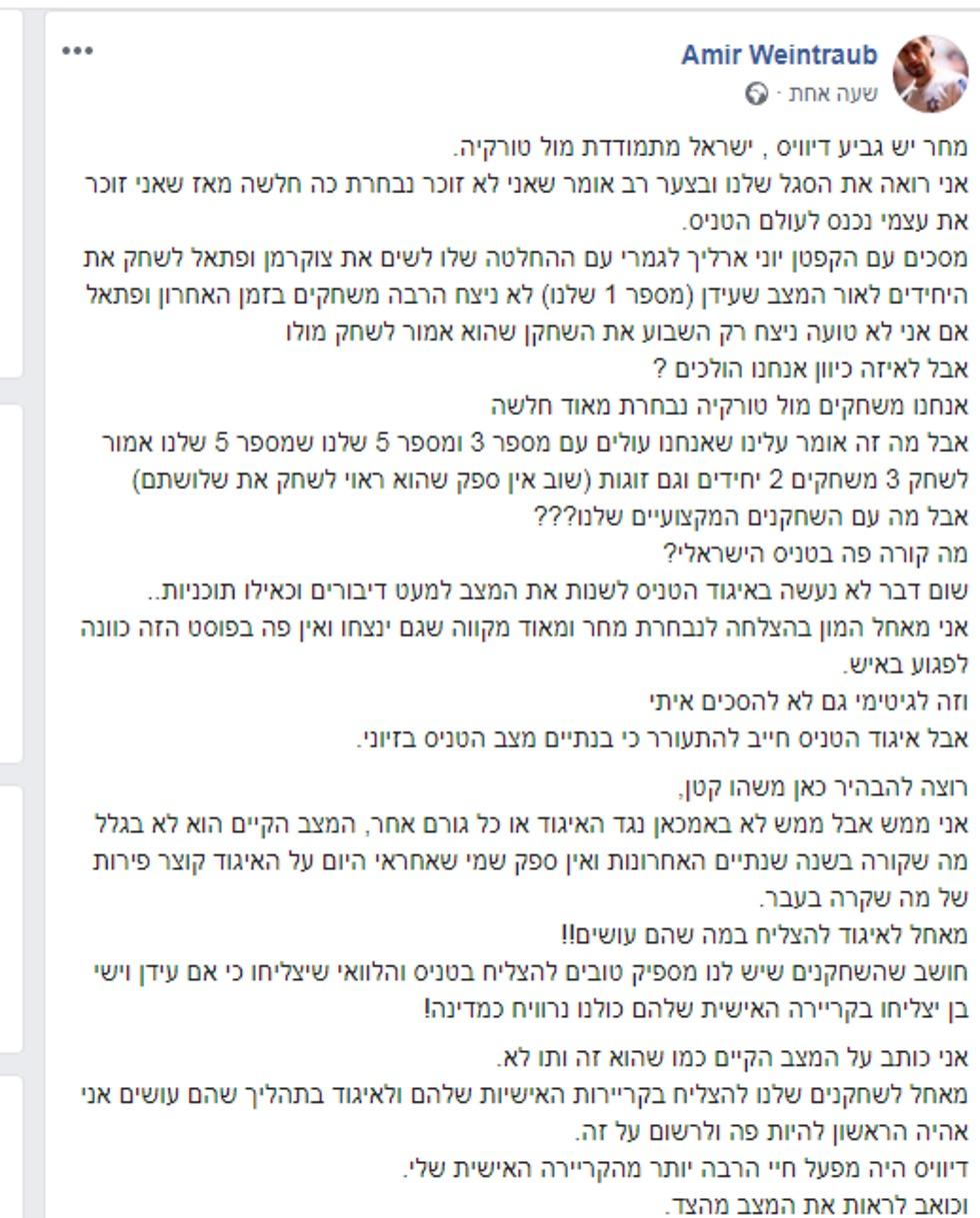 הפוסט של וינטרוב (צילום מסך מתוך פייסבוק)