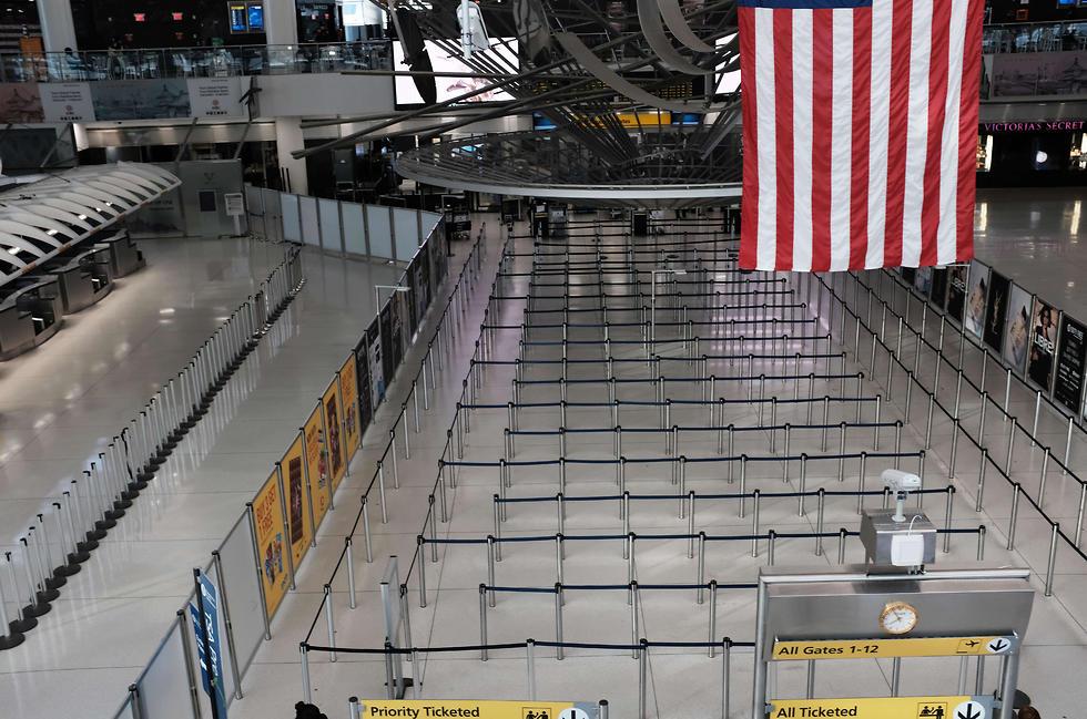 שדה התעופה JFK ריק בגלל הקורונה (צילום: AFP)