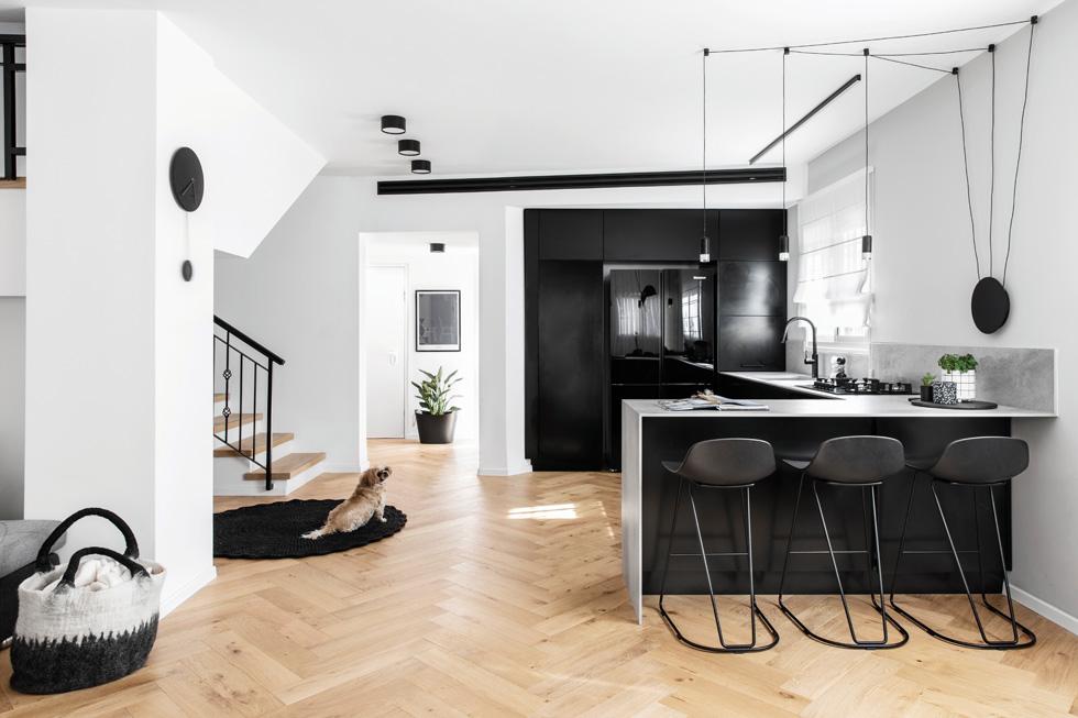 מבט למטבח שעוצב בשחור דרמטי  (צילום: איתי בנית)