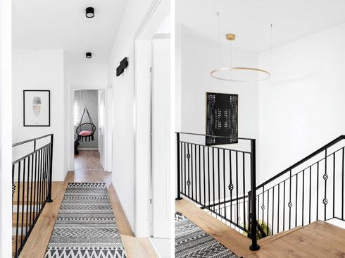 בקומה השנייה שולב פרקט ביישום רגיל ולא פישבון, כמו בקומת הקרקע, כדי לא להעמיס על החללים הקטנים יחסית ועל המסדרון הצר המחבר ביניהם (צילום: איתי בנית)