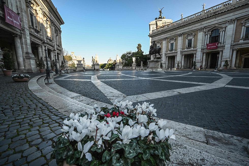 נגיף קורונה סגר על איטליה כיכר קמפידוליו ב רומא (צילום: AFP)