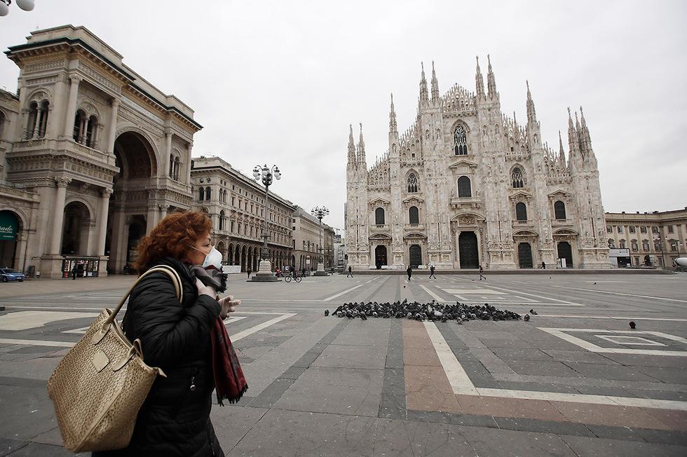 נגיף קורונה סגר עולמי  דואומו מילאנו איטליה (צילום: AP)