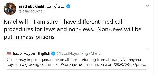 """הציוץ של פרופ' אסעד אבו-ח'ליל, מרצה למדע המדינה בקליפורניה (מתוך """"טוויטר"""")"""