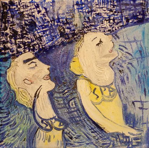 רקפת וינר עומר, בספא. 30-30. שמן ספריי, עט ודיו על בד. 2017. צילום: ערן בריל