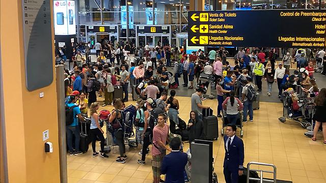 ישראלים תקועים בשדה התעופה בפרו  (צילום: תמיר מרק )