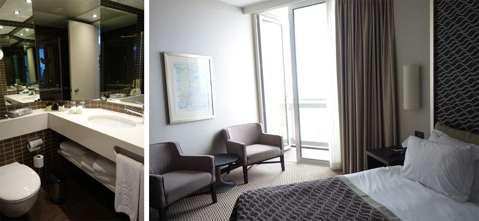 חדר טיפוסי במלון. כשנחנך, היה השני בגודלו בישראל, אחרי הילטון תל אביב. מהעיצוב המוצלח של דורה גד לא נותר הרבה (צילום: מיכאל יעקובסון)