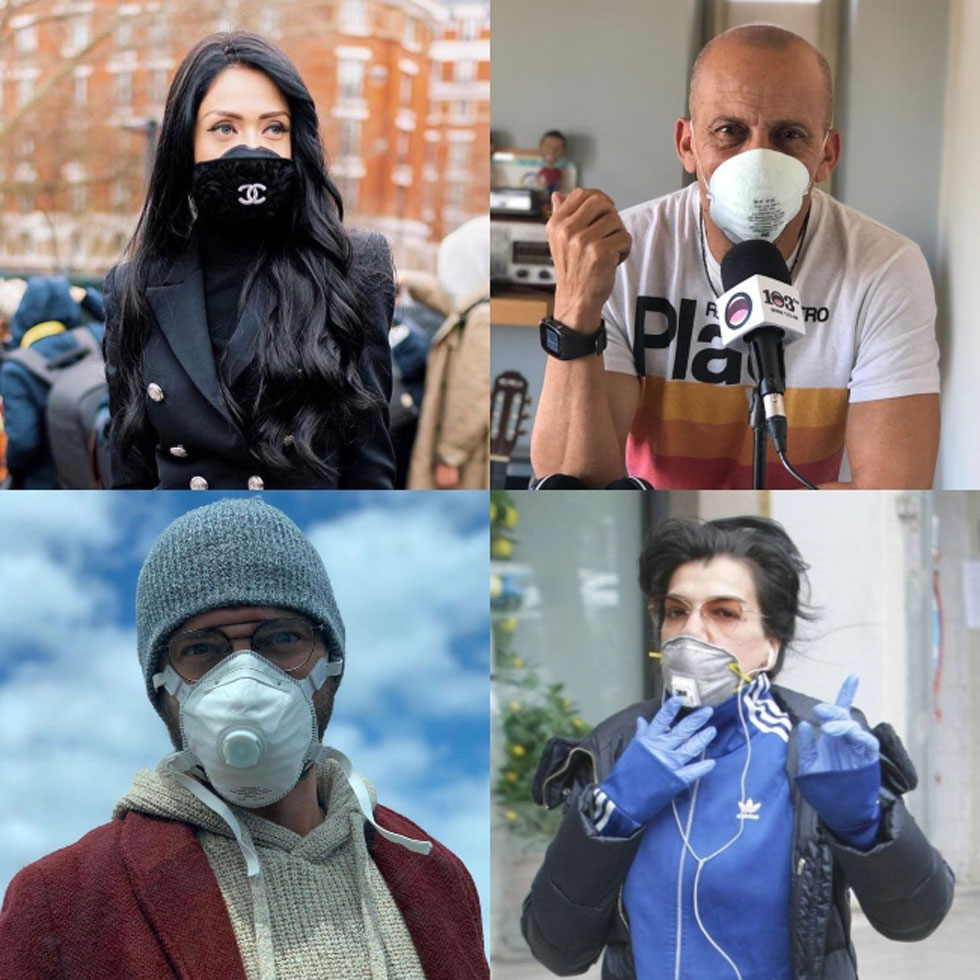 Николь Райдман, Диди Харари, Оз Захави и Дикла в масках. Фото: Instagram