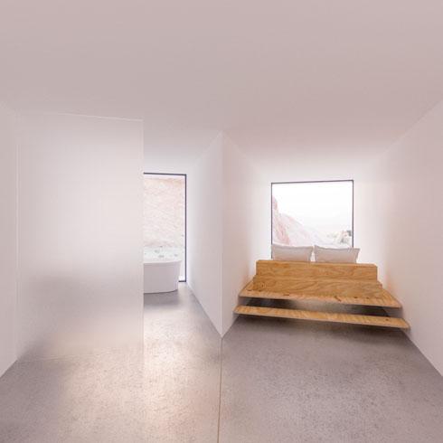 חדר שינה. משמאל חדר הרחצה, הכולל אמבטיה עם מבט אל הנוף. אין חשש ממציצנים, הואיל ובעל הנכס מחזיק כאן בכל השטח - והוא ענק (צילום: Joshua Tree Renders)