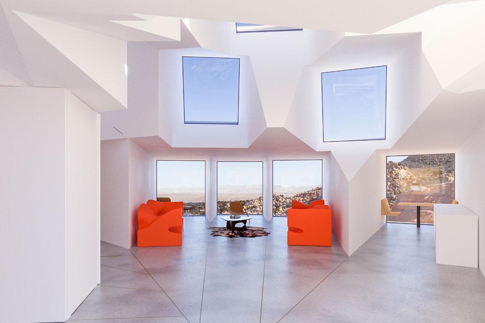 הגוון השולט הוא לבן בוהק. הספות של רון ארד, שמופיעות בהדמיות, אינן מקריות: האדריכל עבד אצלו (צילום: Joshua Tree Renders)