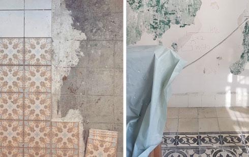 בשיפוץ נחשפו שכבות הצבע הישנות (מימין) ונשמר גריד של מרצפות בגודל 20X20 סנטימטרים (צילום: סטודיו A3)