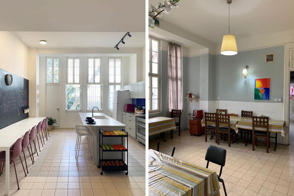 המטבח לפני השיפוץ (מימין) ואחריו. הכוונה בעיצוב היתה לעטוף את הדיירים באווירה צעירה ומעודכנת, כבדירת שותפים נעימה. קל לחשוב שזוהי אכסנייה לתיירים (צילום: יוליה ריידר)