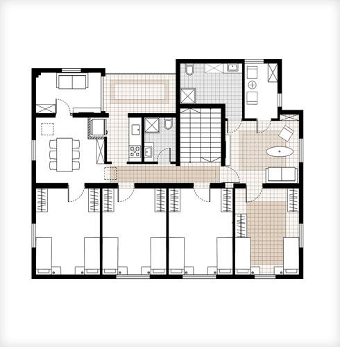 תוכנית קומה של דירות מעבר בבניין הצמוד, המתפקדות כדירות שותפים (תוכנית: סטודיו A3)