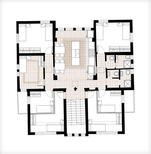 תוכנית הקומה הראשונה של המבנה הראשי (תוכנית: סטודיו A3)